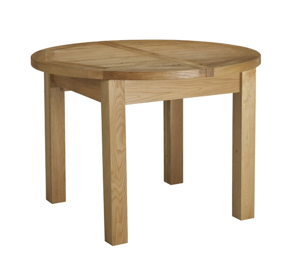 Charltons bretagne solid oak round butterfly extending for Round dining table and chairs