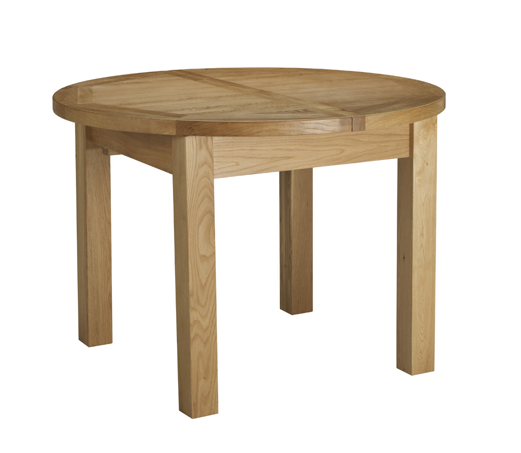 Charltons bretagne solid oak round butterfly extending for Solid oak dining table