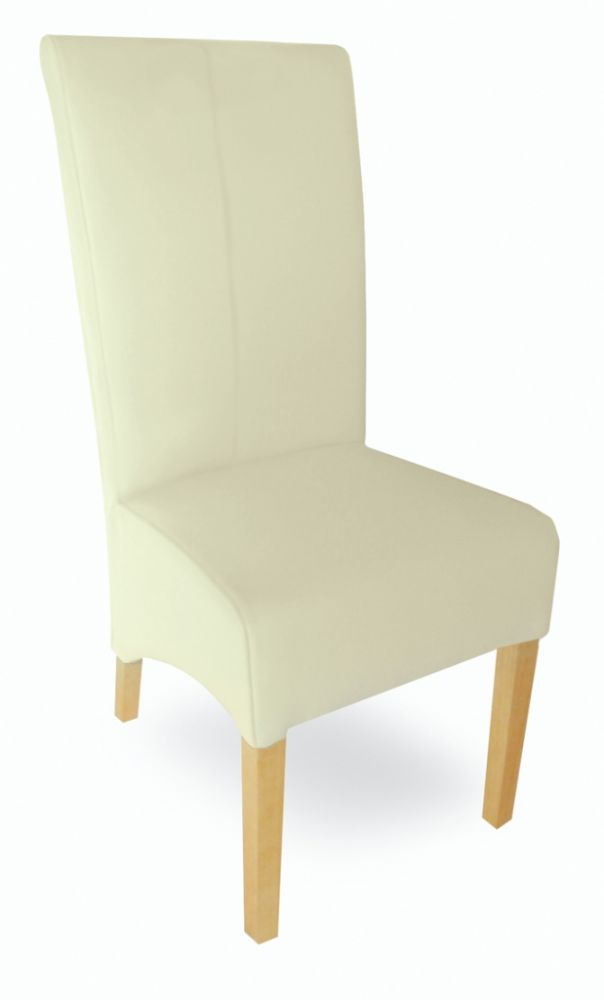 Milano cream leather dining chair for Cream dining room chairs sale