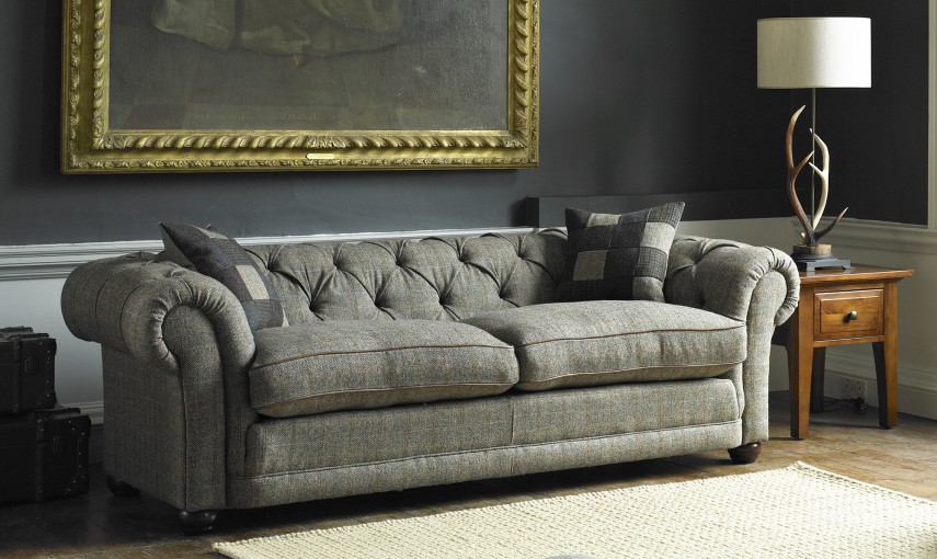 Tetrad harris tweed castlebay sofa for Leather and tweed sofa